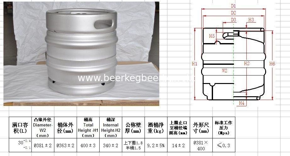 30L DIN beer keg for brewing use, draft beer and craft beer use.